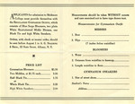 Gymnasium Uniform Order Form Skidmore 1920's 531